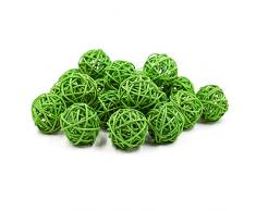 Zhi Jin Juego de 20 bolas de ratán de mimbre Natural para Boda Fiesta colgante para pájaros juguete bola decorativa de Navidad 5 cm