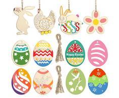 STOBOK 48pcs Colgantes de Pascua, Rebanadas de Madera sin Terminar Adornos de Huevo de Pollo de Conejo Que Cuelgan Recortes de Madera para Artes y Bricolaje Regalos Pascua Decoración