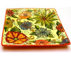 PLATO CUADRADO 30X30 en ceramica hecho y pintado a mano con decoración flor. 30 cm x 30 cm (NARANJA)