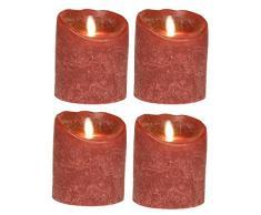 Juego de 4 SOMPEX 10 cm burdeos Frost, corona de Adviento velas LED de cera de velas