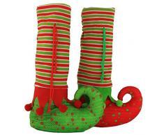 Wewill Marca Cubre la mesa de Navidad cubre pies de los duendes zapatos de las piernas Decoración del partido Medias de vacaciones, 14x8x3 Inch / 35x20x8 CM(rojo / verde), paquete de 2