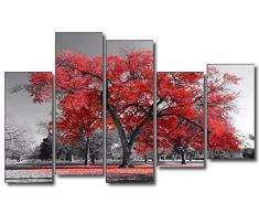 DekoArte - Cuadros Modernos Impresión de Imagen Artística Digitalizada | Lienzo Decorativo Para Tu Salón o Dormitorio | Estilo Paisaje Árboles Rojos Naturaleza | 5 Piezas 150 x 100 cm
