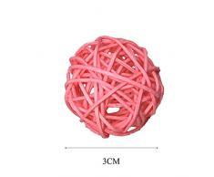 Nubstoer Juego de 20 Bolas de ratán de Mimbre Natural Mesa para Boda para Colgar Wobble Bola Decorativa 3 cm Rosa
