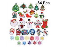 SUPVOX - 34 parches bordados de Papá Noel, muñeco de nieve, coser, para decoración de Navidad