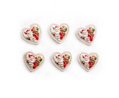 6 pequeños corazones con Papá Noel (3 cm) como decoración dispersa o para decorar calendarios de adviento, tarjetas y regalos de Navidad; con pegar.