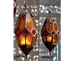 Klass Home Collection® - Pantalla de Cristal para lámpara de Techo (Estilo marroquí, tamaño Grande, Vintage, para decoración de Interiores), Color Dorado y Naranja