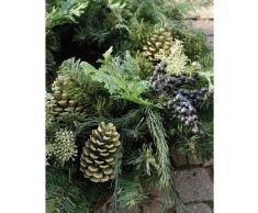 Decorativa corona de ramas de abeto y cedro con bayas y piñas, Ø 60 cm - Composición floral / Guirnalda artificial - artplants
