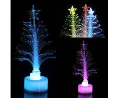 OULII Mini llevó árbol de Navidad decoración de mesa fiesta de Navidad de cristal