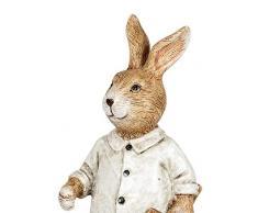 dekojohnson Figura Decorativa de Conejo de Pascua, Pala de jardín, decoración de jardín, decoración de Pascua, Color Crema, marrón, 16 cm