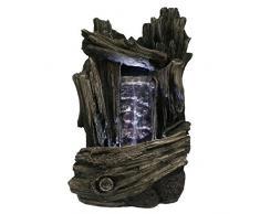 Zen Luz SCF152 - Fuente cascada, piedra / madera, 18 x 16 x 28 cm, color: marrón