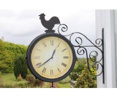 Reloj de jardín de doble cara con campana y gallo. INCLUYE PILAS GRATUITAS. Para uso en interior y exterior.