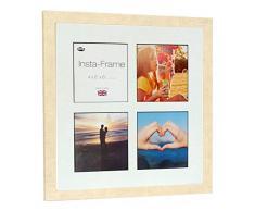Inov8 16 x 40,64 cm Insta-Frame Marco de fotos de madera para 4 Instagram/de estampado a cuadros de fotos con paspartú blanco y negro con borde, diseño de reloj de arena