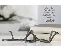 Casablanca - Escultura de diseño Loving Hierro Fundido bruñido 30 cm Figura decorativa Pareja