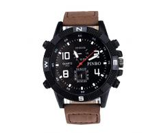 Tongshi Correa de lona de los hombres de lujo Gran Dial Militar Deporte cuarzo reloj de pulsera (café)