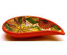 CUENCO LAGRIMA SIMPLE bol / plato hondo en ceramica hecho y pintado a mano con decoración flor. 19 cm x 11 cm (NARANJA)
