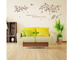 Pegatina Adhesivo vinilo decorativo pared Branches Pájaro Marrón 60*78CM