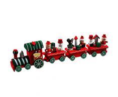 Amsion 4 piezas madera Decoración Regalo de Navidad de tren