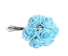 Planta Artificial Ramo Flor Rosa Azul Decoración Espuma PE para Novias Boda
