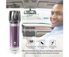 12 V coche purificador de aire iónico, ambientador, ionizador, purificador de aire   elimina Pollen, humo, malos olores y olores – Ideal para automóvil o RV y coche regalo (violeta)