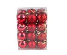 Bola de adorno,Longra 24 piezas Xmas bolas brillas elegantes de adorno de decoracion de arbol chucherias de Navidad (rojo)