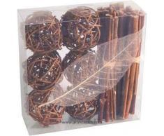 Artificiales - Kit Deco ratán chocolate: 6 Fagots 6 bolas 1 hoja