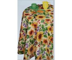 Hule Pascua regalo Mantel 140 cm redondo Girasoles Multicolor Flores Mantel de hule (Amarillo Frohes Fest