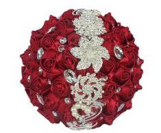 Fouriding Ramo de Novia Boda Flores Ramos Flores Rosas de Seda Cristal Dama de Honor Nupcial con Flores Artificiales Huso Strass (Rojo Vino)