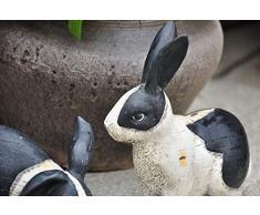 Zyh-hyz Escultura de Conejo Estatua, jardín de esculturas de Animales Negro y Negro de Conejo Resina Modelo Césped Woodland Creativo Conejo de Pascua