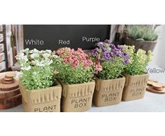 URAQT Florero de Cerámica + Artificial Flores de Gypsophila, Barril de la Vendimia Diseño Florero Planta Plantador, Decoración Iniciar / Interior / Exterior / de la Boda / Jardín
