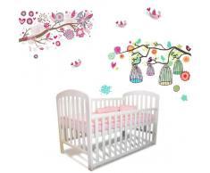 Walplus - Juego de pegatinas infantiles para pared, con diseño de flores, árboles y jaulas para pájaros