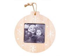 4pcs marcos de fotos de Navidad para las paredes o colgantes de madera Marcos innovadoras decoraciones colgantes DIY madera colgante árbol de Navidad adornos para la familia, la abuela, el bebé