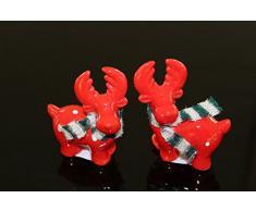 """2 unidades """"escarchado de amigos de - alce de peluche con bufanda"""" - dos hermosos cerámica - Juego de figuras de en bufanda de - que cuenta con la decoración para otoño invierno de adviento y Navidad"""