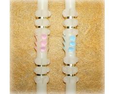 Vela (cirio) para Bautizo Medidas 2 x 48 cm,clásico 100 gr.Vela de Bautizo Decorada con un pinzado clásico y una Cinta Dorada, Puede ser Totalmente Blanca o Bien Pintada en Color Rosa o Azul.