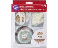Wilton - Juego de decoración para cupcakes (48 unidades), diseño de muñeco de nieve, multicolor