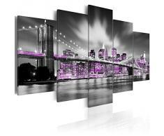 Cuadro en Lienzo 200x100 cm - 3 tres colores a elegir - 5 Partes - Formato Grande - Impresion en calidad fotografica - Cuadro en lienzo tejido-no tejido - New York ciudad 030102-25 200x100 cm B&D XXL
