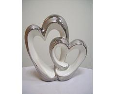 Figura decorativa de cerámica Herzduo con nudos, plata - blanco, 20 cm de alto, Gilde decorativo