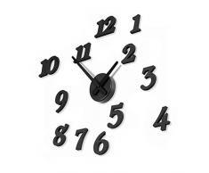 Aliciashouse Negro relojes de pared 3D DIY grandes números reloj pared Sticker Decal relojes Home Decor