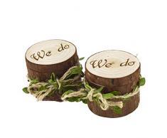 Amosfun 2 unids Caja de Madera de Anillos de Novios en Forma de Madera Cajas de Madera para Decorar para Fiesta Ceremonia de Boda Vintage Caja de Joyería