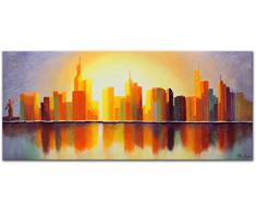 YS-Art Cuadro Acrílico Ciudad de Sol| Pintado a Mano | 115x50 cm | Arte Moderno | Lienzo de Pared | único | Anaranjado