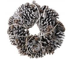 Corona de piñas de pino de corona de piñas de Nevada - 33 cm - Corona decorativa de Navidad con diseño de la corona de Adviento para puerta