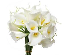 TININNA Látex real Touch realista Artificial flor de la cala Ramo de la boda de la flor Ramos Manojo Blanco