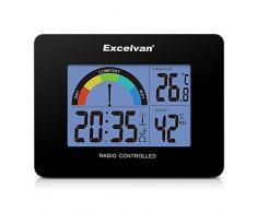 Excelvan AOK 2805A - Precisión Despertador Alarma Reloj Radio controlado Digital (Horario Ajustable Automatico, Termómetro, Calendario, Pared Montable y Soporte de escritorio), Negro