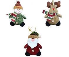 DTWORLD Suministros de decoración de Navidad para el año 2016, árbol de Navidad para colgar en el interior, adornos de Papá Noel y muñeco de nieve para el hogar (Pack de 3)