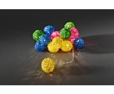 Konst Smide 3151-503 - Guirnalda de luces led con bolas de ratán de colores (16 diodos de luz blanca cálida, transformador interior de 24V, cable transparente)