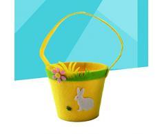 Amosfun Huevos de Pascua Canasta Adorable Fieltro Portátil Bolsa de Dulces de Pascua para Caza de Huevos Favores de Pascua Regalos Dulces Dulces (Conejo)