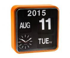 Karlsson Mini Flip - Reloj de pared, marco naranja, fondo negro