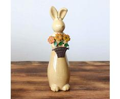 TOYANDONA 3 unids Cerámica Figuras de Conejo Artware Inicio Ornamento Conejito Estatuas Estatua Regalo de Pascua Decoración
