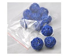 Ougual 10 Piezas Bolas de ratán Mimbre Mesa Boda Fiesta Navidad decoración 5cm Azul