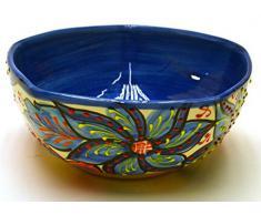 CUENCO PENTAGONAL Nº2 bol / plato hondo en ceramica hecho y pintado a mano con decoración flor. 20 cm x 20 cm x 8,5 cm (FLOR MARINA AZUL)