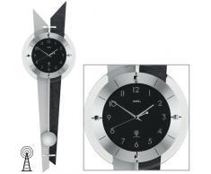 Reloj De Péndulo AMS Reloj de pared 5253 con colgante Funk Madera posterior Pizarra aluminio cristal mineral